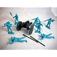 Marx and Classic Toy Soldiers, Inc Union Artillery Set. 7 Marx Union Figures in Blue Plus 1 Classic Toy Soldiers, Inc Civil War Cannon, Offered By Classic Toy Soldiers, Inc
