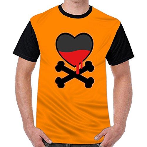 Lovelywardrobe Heart With Cross Bones Men's Sports Football T Shirts (Bone Plug Cross)