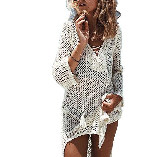 Jeasona Women's Bathing Suit Cover Up Crochet Bikini Swimsuit Swimwear Dress (Off White, M) (Up Long Sleeve Cover Crochet)