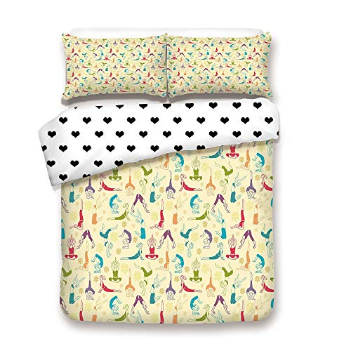 Duplex Print Duvet Cover Set FULL Size/Workout Themed Fitness Girls Pattern Abstract Meditation Postures Arrangement Asian Decorative/Decorative 3 Piece Bedding Set with 2 Pillow Sham,Best Gift For Y -