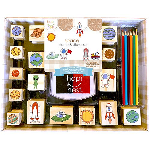 Hapinest Space Stamp and Sticker Set for Kids Boys Arts and Crafts Kits Ages 4 5 6 7 8 9 Years Old