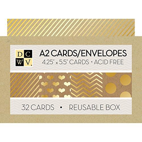American Crafts Kraft Dcwv Boxed A2 Cards W/Envelopes 32/Pkg, 4.375