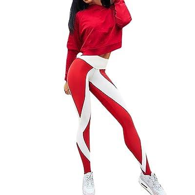BSGSH Yoga Leggings - Women Splicing Contrast Color Active Running Workout Leggings Pants