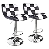 Leopard Deluxe Pitstop Adjustable bar stools,Set of 2 (Black and White)