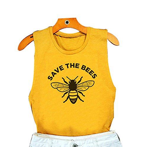 Women Bee Kind Shirt Letters Printed Casual Summer Cute Graphic Tank Top Size L (Yellow)