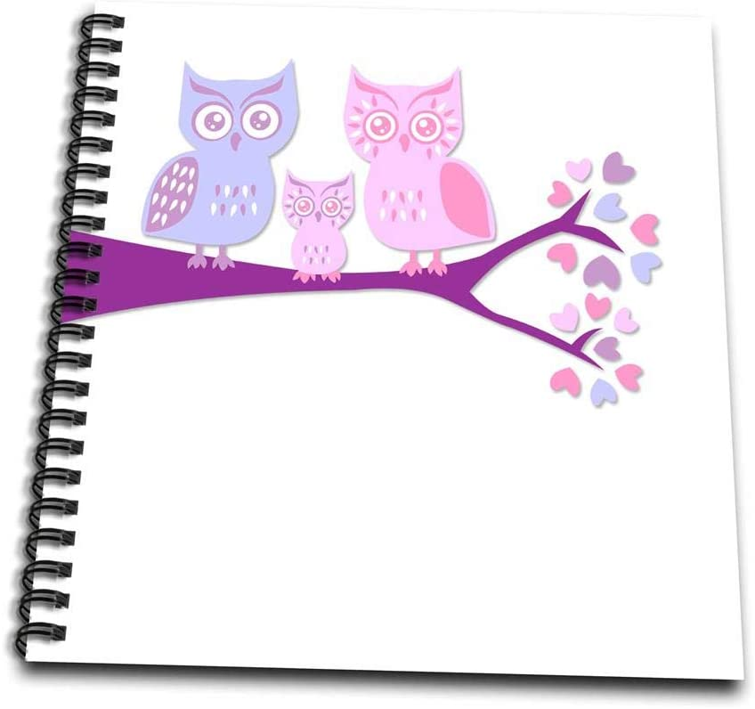 4 x 4 3dRose Cute Owl Family with Baby Girl Purple and Pink Mini Notepad