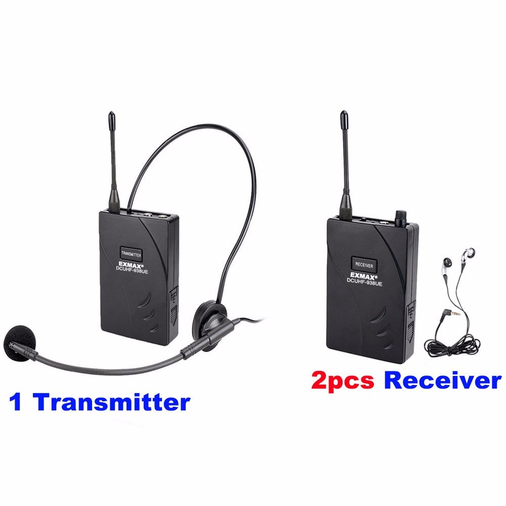 EXMAX DCUHF-938UE Wireless Headset Microphone Audio Tour Guide System 432.5-434MHz Dual/Two Optional UHF Channels for Tour Guiding Church Teaching Travel Interpretation.(1 Transmitter 2 Receivers) by EXMAX