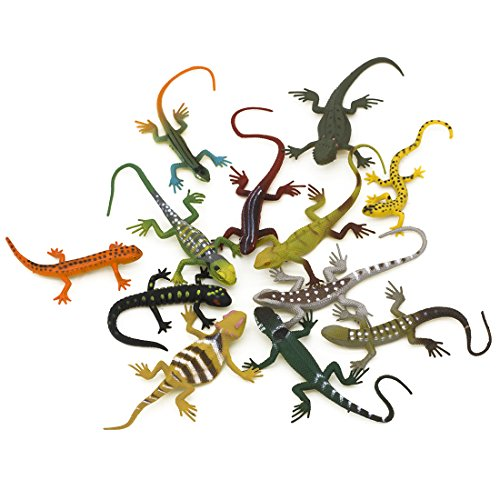 Kvvdi 12pcs 5 Inch Colorful Fake Lizards Action Figure for Reptile Party Supplies Toy]()