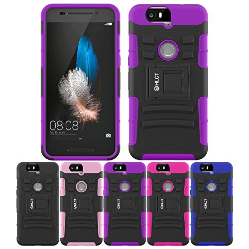 Price comparison product image Google Nexus 6P Case, HLCT Rugged Shock Proof Dual-Layer PC and Soft Silicone Case With Built-In Kickstand for Google Nexus 6P (2015) (Purple)