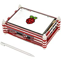 Etoput 3.5 inch TFT LCD Touch Screen with 9 Layers Red Case for Raspberry Pi 3 and Pi 2