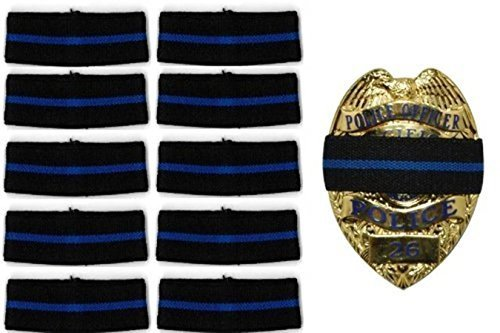 (10-PACK Thin Blue Line Stripe Black Police Officer Badge Shield Funeral Honor Guard Mourning Band Strap 1/2