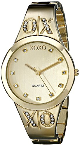XOXO Women's XO5217 Gold Dial Gold-tone Half Cuff and Half Bracelet Watch