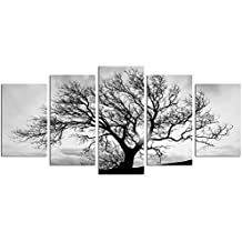 Live Art Decor- Black and White Tree Canvas Art,Great Sunset Shot Pictures Print on Canvas,Modern Home Decor
