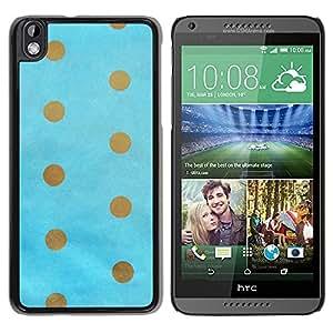 Paccase / SLIM PC / Aliminium Casa Carcasa Funda Case Cover para - Dot Gold Brown Baby Blue Minimalist - HTC DESIRE 816