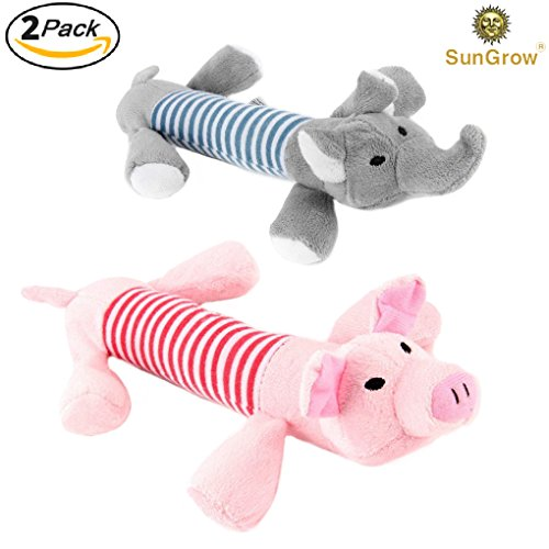2 Plush Squeaky Puppy Toys --- Dynamic Due of Peppy the Pig and Elo the Elephant for your small dog - Chewable and soft - Helps Maintain Healthy Teeth and - Good Remover Scratch