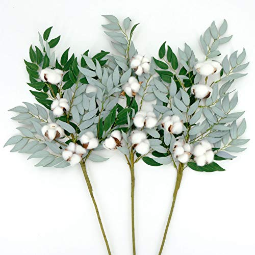 idyllic Cotton Stem 3Pack 24inches 7-Leaf Cotton Branch Farmhouse Style Floral Display Filler Flower Bouquet Floral Arrangement