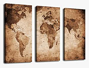 Amazon canvas wall art vintage world map painting ready to hang canvas wall art vintage world map painting ready to hang 3 pieces large framed old gumiabroncs Choice Image