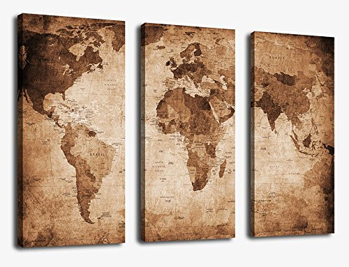 Canvas Wall Art Vintage World Map Painting Ready to Hang - 3 Pieces Large Framed Old Map Canvas Art Retro Antiquated Map of the World Pictures Abstract Artwork Prints for Home Office Decoration