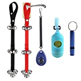 Dog Training Bell for Potty Training and Housebreaking Your Doggy, 2pc Doorbells with One Clicker and One Dog Waste Bag Dispenser with 15 Count Bags and One Dog Whistle