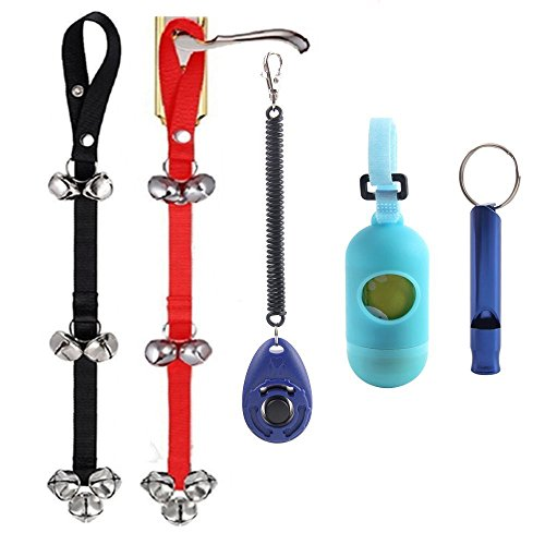 Dog Training Potty Training (Dog Training Bell for Potty Training and Housebreaking Your Doggy, 2pc Doorbells with One Clicker and One Dog Waste Bag Dispenser with 15 Count Bags and One Dog)