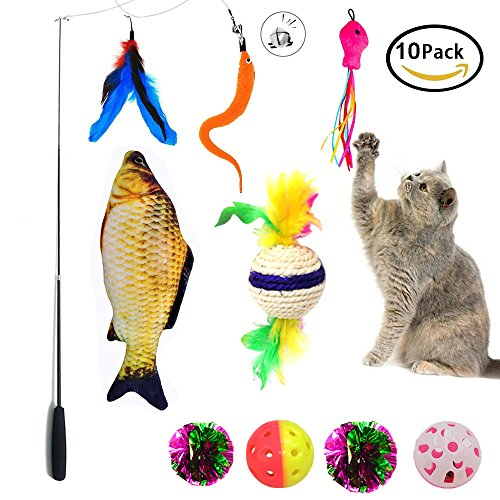 Kitty Teaser (Cat Toy Interactive Puppy Cat Feather Toy Teaser Wand 10 Packs Set ,Cat Toy Crinkle Balls and Mint Fish Catnip Toy Balls For Kitty, Kitten)