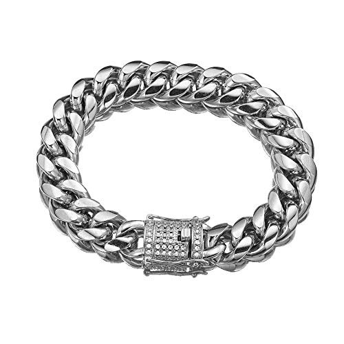 MUYING JEWELRY Mens Unisexs Silver Miami Cuban Curb Link Chain 8/10/12/14/16/18mm Width Stainless Steel Fashion CZ Diamond Bracelet Bangle 7-11inch (14mm,11 inches) ()