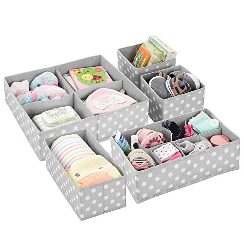 mDesign Soft Fabric Dresser Drawer and Closet Storage Organizer Set for Child/Kids Room, Nursery, Playroom - 5 Pieces, 15 Compartments - Fun Polka Dot Print - Gray/White from mDesign