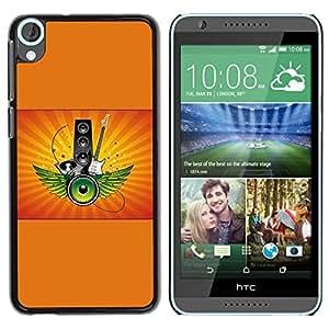 Be Good Phone Accessory // Dura Cáscara cubierta Protectora Caso Carcasa Funda de Protección para HTC Desire 820 // Boom Box Orange Guitar Speakers