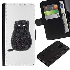 WINCASE (No Para S5) Cuadro Funda Voltear Cuero Ranura Tarjetas TPU Carcasas Protectora Cover Case Para Samsung Galaxy S5 Mini, SM-G800 - gatito gato historieta negro blanco minimalista