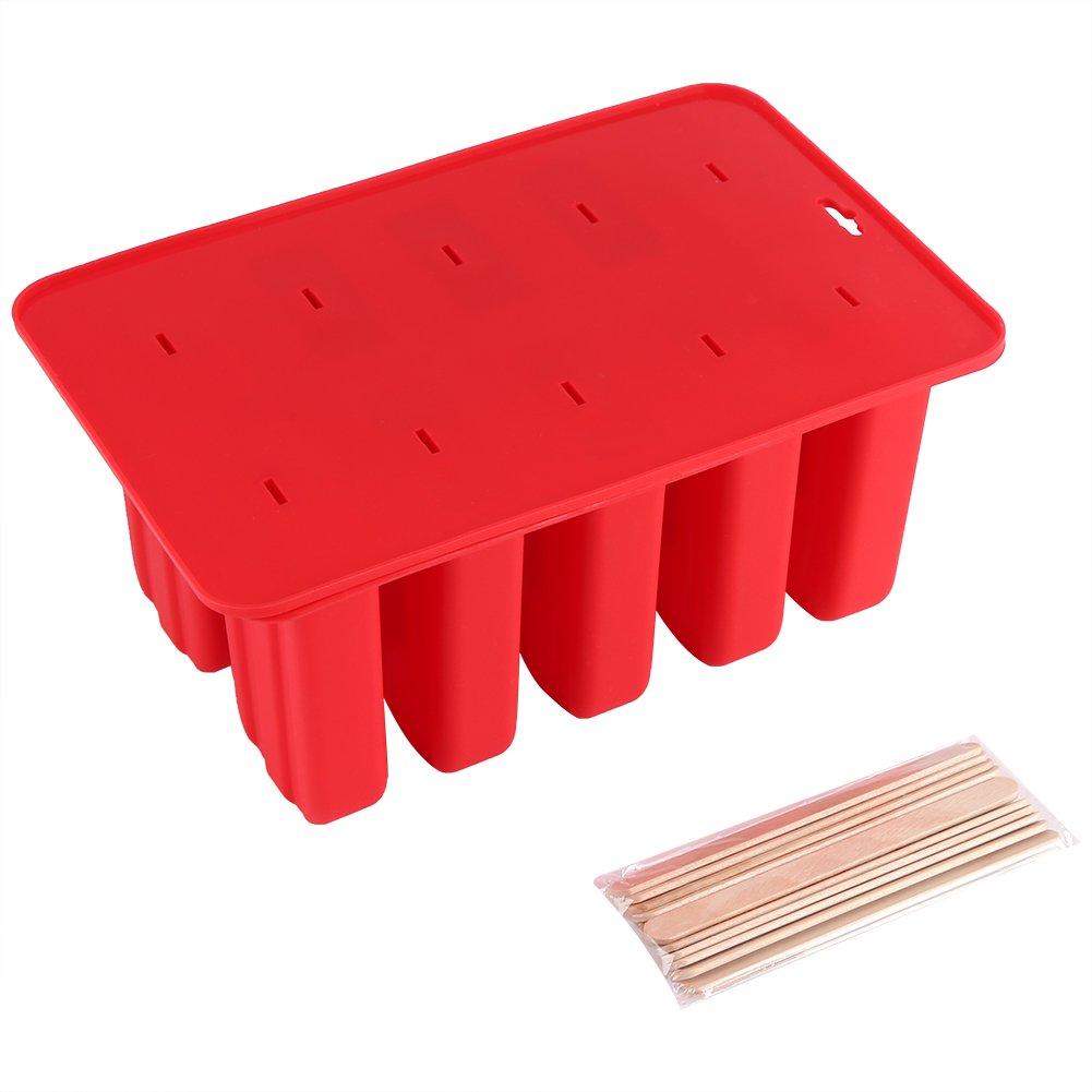 Moule à Glace en silicone, Popsicle Maker Moule, utilisation Répétée Sorbet Bâtonnet de glace avec maison non toxique Bâtonnet DIY Moule avec couvercle Rouge