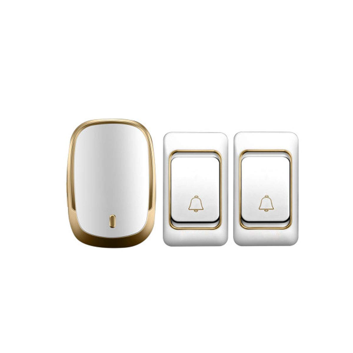 gold(two drag one) Doorbell, Wireless Home Two-to-one Ultra-Long-Range Wireless Doorbell, Atmospheric Design (gold, Silver) (color   gold(Two Drag one))