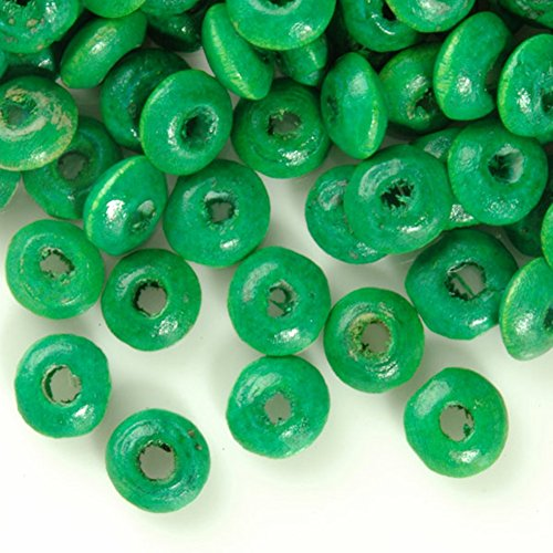 Dyed Beads (Fashion 810pcs Center Drilled Dyed Wood Rondelle Beads Color Green Bead Size 6.0-7.9mm Hole Size 2.0-2.9mm)
