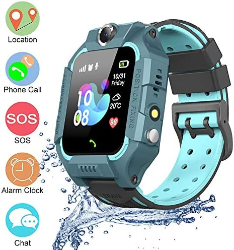 Sienon Waterproof Smart Watch Phone for Kids, Children Sports Watches, Phone Call GPS Real-time Positioning SOS Alarm, Voice Messages for Students School Mode Wristwatch Smart Watches No SIM Card