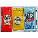 50 Heinz Inglés Mostaza, 50 Heinz Tomato Ketchup y 50 HP Sauce - Sobres individuales