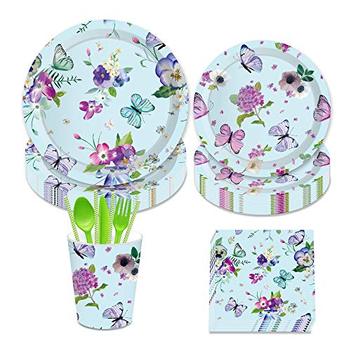 LJCL Floral Butterfly Party Supplies - Serves 8 - Flower Jungle Party Cake 7