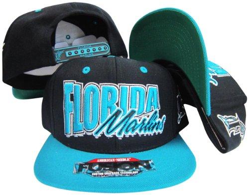 - American Needle Florida Marlins Black/Teal Fusion Angler Snapback Hat/Cap