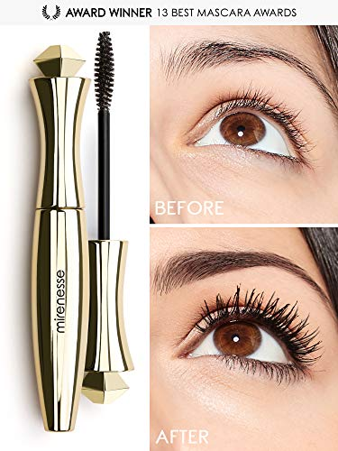 Mirenesse Secret Weapon Original 24hr Mascara, Lengthens & Curls Lashes, Microwrap Tubing Formula, Winner 13 Best Mascara Awards, Long Lasting, Safe Sensitive Eyes, Vegan & Toxin Free, Black 0.35oz