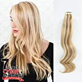 ABH AmazingBeauty Hair Pre-taped Sun-kissed Highlight Hair Tape in Extensions, Invisible Seamless Double Side Real Remy Human Hair Skin Weft, 50g 20pcs, Bronde with Beach Blonde Color 10-613 20 Inch