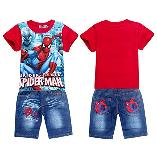 2Pcs Boys Spider-Man Pullover T-Shirt+Jeans Shorts Baby Clothing Sets (Red, 7-8 Years)]()