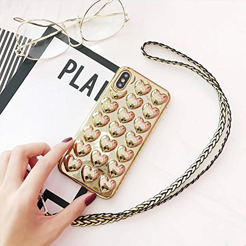 Fabulous Heart - iPhone X,Blingy's New Fabulous Shiny Hearts Pattern Bling Bling TPU Soft Case with Neck Strap for iPhone X (Gold)