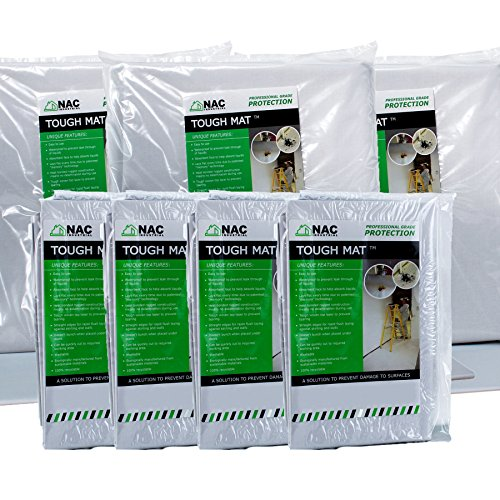 Waterproof Canvas DROP CLOTH Deluxe Decorators Multipack of 7 - TOUGH MAT 4 x Small, 1 x Medium 2 x Big Pack - Professional Surface Protection by NAC (16' Flat Pack)