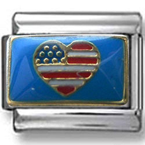 Flag Heart Italian Charm - American- Flag- Heart Italian Charm
