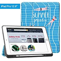 JUQITECH Smart Case for iPad 12.9 Inches 2017/2015 with Pencil Holder, Microfiber Lining Trifold Stand Flexible TPU Back Cover with Auto Sleep/Wake, Protective for iPad Pro 12.9 1st/2nd Gen, Navy