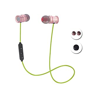 Bingo S2 Sporty Wireless Bluetooth Headphone With Mic & HD sound quality , Impressive Magnetic Suction Design And compatible with Android or IOS Device (GREEN)