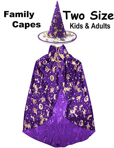 Halloween Party Cape Costumes Kids Adult Witch Wizard Cloak with Pumpkin Bat Cat Role Play Cosplay for Girls Boys Womens ()