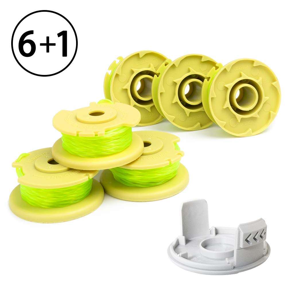 X Home Weed Eater Replacement Spools Compatible with Ryobi One Plus+ 18V 24V 40V AC80RL3, AC14HCA String Trimmer Cap Covers, 11ft 0.080 inch Cordless Auto-Feed Twist Single Line (6 Spool, 1 Cap) by X Home