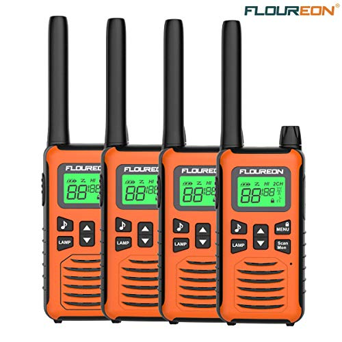 - floureon Walkie Talkies for Adults Long Range Two Way Radio 22 Channel 3000M (MAX 5000M) USB Cable Charging Walkie Talkies 4 Pack for Outdoor Adventures Camping Hiking (Orange)