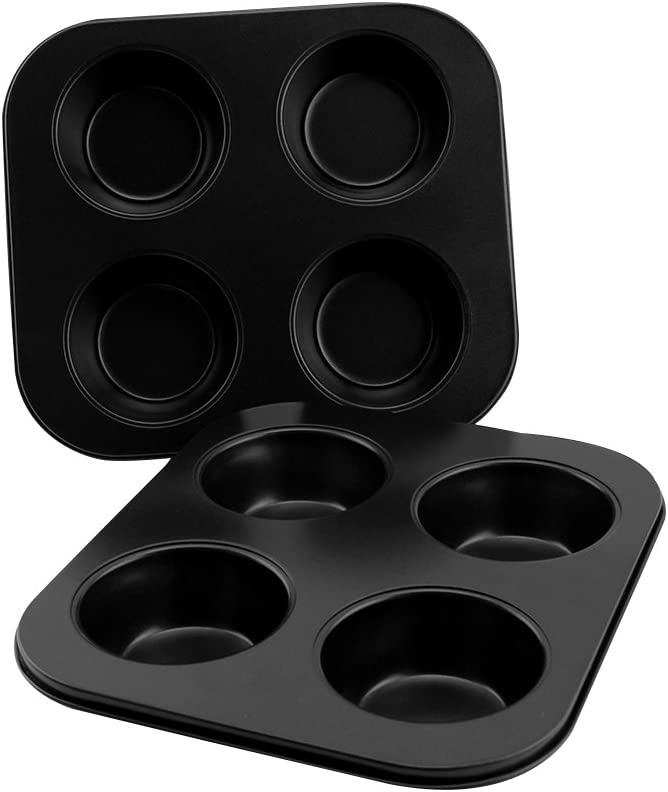 EALEK 4-Cup Heavy Carbon Steel Non-Stick Bakeware Cupcake Muffin Pan Baking Tray 2 Pack 8.5 Inch Black
