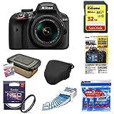 Nikon デジタル一眼レフカメラ D3400 AF-P 18-55 VR レンズキット ブラック D3400LKBK + アクセサリー7点セット(SDカード 32GB、液晶保護フィルム、カメラケース、レンズフィルター、レンズクリーニングティッシュ、ドライボックス、乾燥剤)