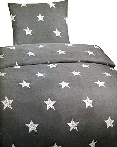 Leonado Vicenti 4 tlg. / 2x2 tlg. Bettwäsche 135x200 cm mit Sternen in grau/weiß aus Microfaser Set mit Reißverschluss